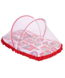 Mee Mee Mattress With Pillow And Mosquito Net Multiprint - Red