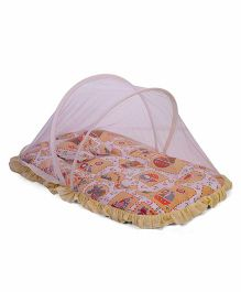 Mee Mee Mattress With Mosquito Net And Pillow Multi Print - Peach