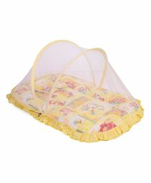 Mee Mee Mattress With Mosquito Net And Pillow Multi Print - Yellow