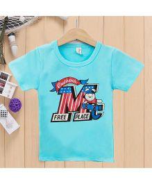 Wonderland Printed Casual T-Shirt - Blue