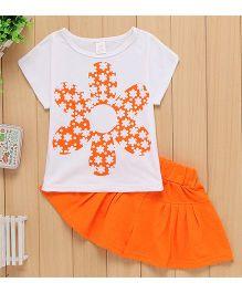 Wonderland Top & Divider Skirt Set - Orange