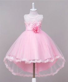 Wonderland High Low Hem Lace Work Dress With A Tie Bow - Pink