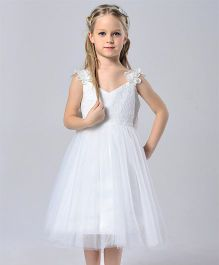 Wonderland Flared Dress With Floral Lace Strap & Bow At Back - White