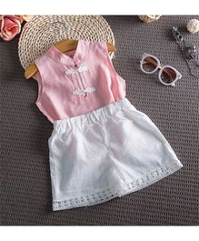 Wonderland Trendy Linen Top & Chiffon Shorts - Pink