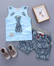 Funtoosh Kidswear Tie Applique Tee & Printed Shorts - Blue