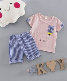 Funtoosh Kidswear Pencil Patch Tee & Striped Shorts - Peach & Blue