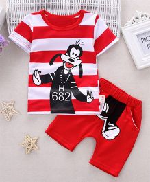 Funtoosh Kidswear Graphic Print Striped Tee & Shorts - Red & White