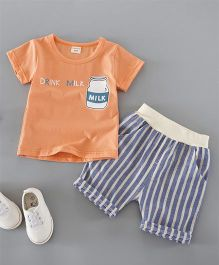 Funtoosh Kidswear Milk Print Tee & Striped Shorts - Orange & Blue