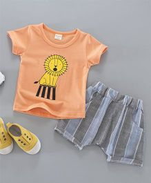 Funtoosh Kidswear Lion Print Tee & Shorts - Orange & Grey