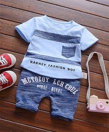 Funtoosh Kidswear Striped Tee & Shorts - Blue