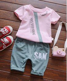 Funtoosh Kidswear Stripe Patch Tee & Shorts - Pink & Grey
