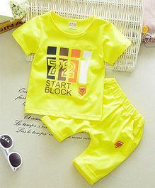 Funtoosh Kidswear Number Print Tee & Shorts - Yellow