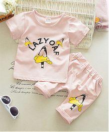 Funtoosh Kidswear Graphic Print Tee & Shorts - Peach