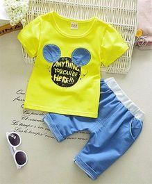 Funtoosh Kidswear Caption Print Tee & Shorts - Yellow & Blue