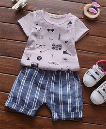 Funtoosh Kidswear Multi Print Tee & Shorts - Grey