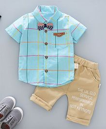 Funtoosh Kidswear Checkered Shirt & Shorts - Blue & Brown