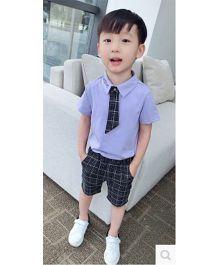 Funtoosh Kidswear Tie Applique Collar Tee & Checkered Shorts - Purple & Black