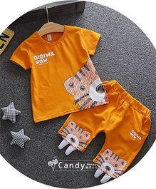 Funtoosh Kidswear Baby Tiger Print & Shorts - Orange