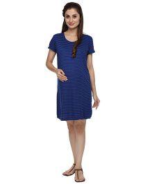 Morph Shirt Sleeves Maternity Dress Stripes Print - Navy Blue