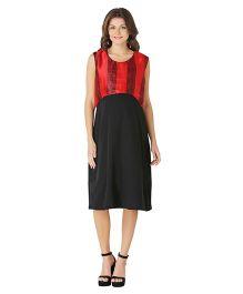 Morph Sleeveless Maternity Dress - Black & Red