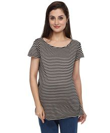 Morph Maternity Top Stripes Print - Beige Black
