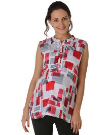 Morph Sleeveless Printed Maternity Top - White Red