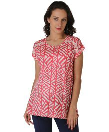 Morph Short Sleeves Printed Maternity Top - Coral