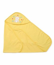 Simply Hooded Wrapper With Teddy Patch - Yellow
