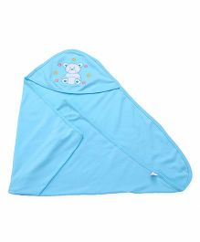 Simply Hooded Wrapper With Teddy Patch - Blue