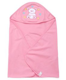 Simply Hooded Wrapper With Teddy Patch - Pink