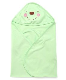 Simply Hooded Wrapper With Embroidery - Green