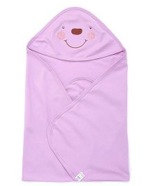 Simply Hooded Wrapper With Embroidery - Purple