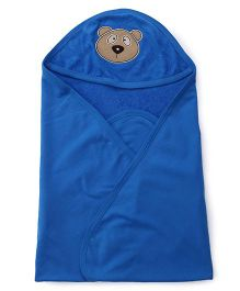 Simply Hooded Towel With Teddy Face Design - Blue