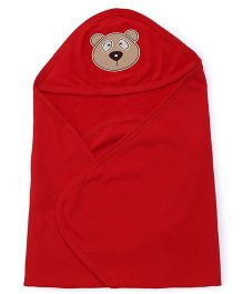 Simply Hooded Towel With Teddy Face Design - Red