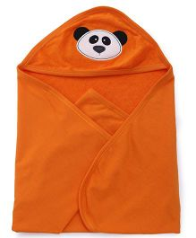 Simply Hooded Towel With Panda Face Design - Orange