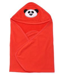 Simply Hooded Towel With Panda Face Design - Coral