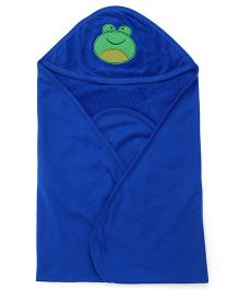 Simply Hooded Towel With Froggy Face Design - Royal Blue