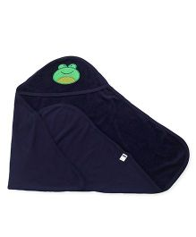 Simply Hooded Towel With Froggy Face Design - Navy Blue