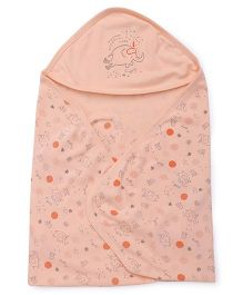 Simply Hooded Wrapper Printed - Peach