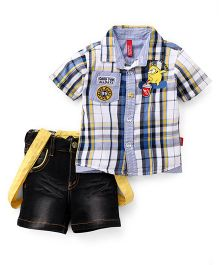 Spark Half Sleeves Checks Shirt Denim Shorts Set With Suspenders - Yellow Blue Black