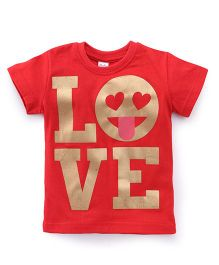 Playbeez Love Print Shimmer Tee - Red