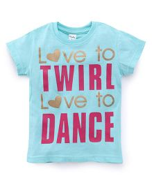 Playbeez Love to Twirl Love to Dance Shimmer Tee - Blue