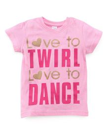 Playbeez Love to Twirl Love to Dance Shimmer Tee - Pink