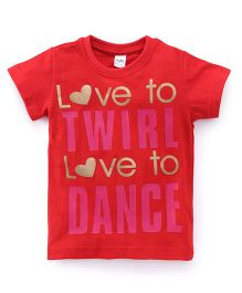Playbeez Love to Twirl Love to Dance Shimmer Tee - Red
