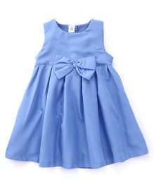 ToffyHouse Sleeveless Solid Color Frock With Bow - Blue
