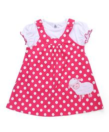 ToffyHouse Short Sleeves Polka Dotted Frock With Inner Top - Dark Pink