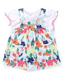 ToffyHouse Dungaree Style Floral Printed Frock With Inner Tee - White & Multi Color