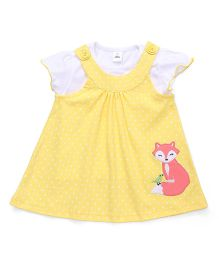 ToffyHouse Short Sleeves Dotted Frock With Inner Top Animal Embroidery - Yellow White