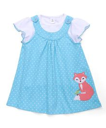 ToffyHouse Short Sleeves Dotted Frock With Inner Top - Teal Blue