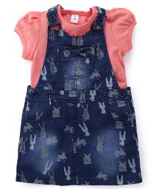 ToffyHouse Printed Denim Dungaree With Inner Top - Blue & Peach